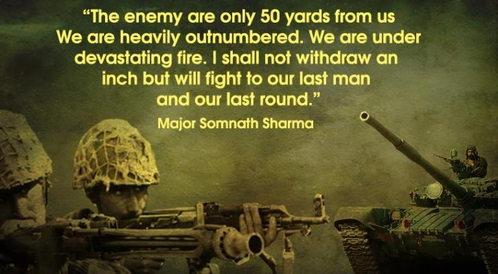 Somnath Sharma Indian Army quote
