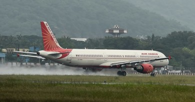 Chennai: An Air India flight taking off  from runway after the air port was suspended from operations last week, following waterlogging caused by heavy rainfall in Chennai on Sunday. PTI Photo by R Senthil Kumar(PTI12_6_2015_000172B)