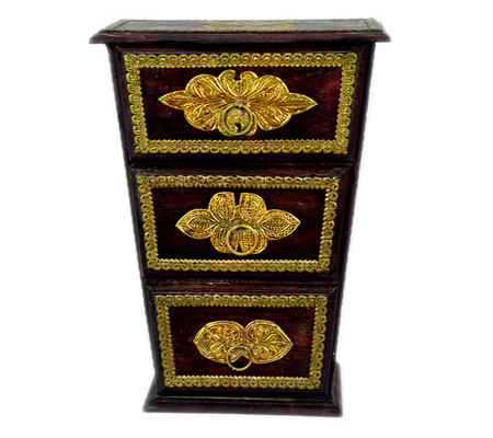 Exquisite Wooden Brass Fitted Three Drawer Chest