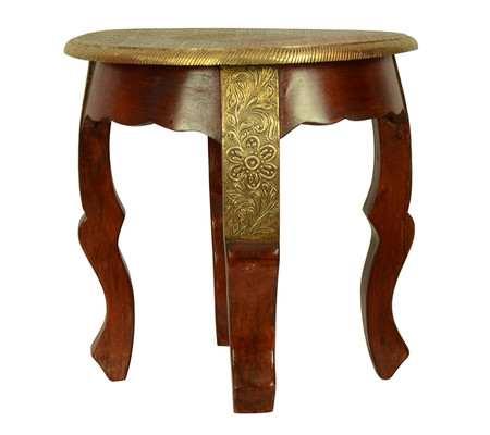 wooden brass fitted table