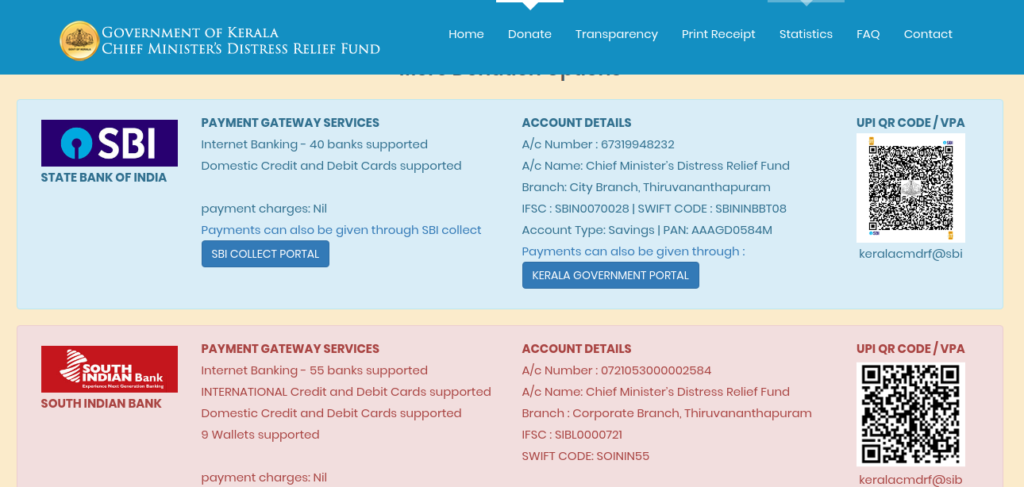 Donation Portal _ Kerala Chief Minister's Distress Relief Fund (CMDRF)