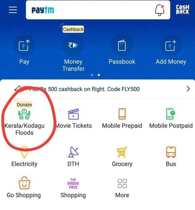 Paytm Kerala flood donation