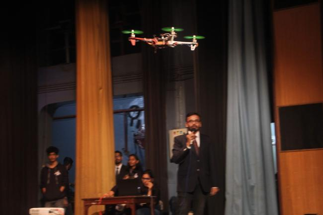 Flying drone in Kshitij, IIT Kharagpur
