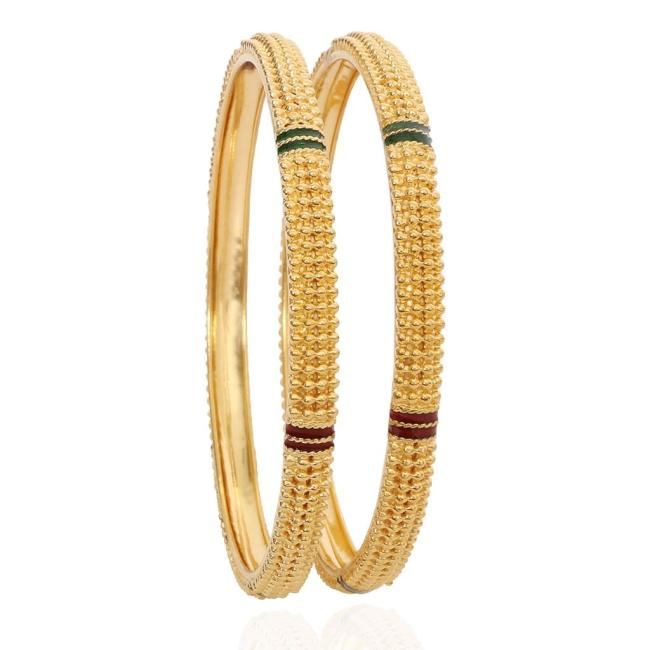 Red and green enamelled daily wear gold bangles